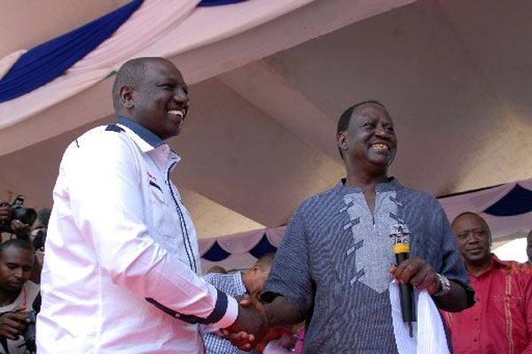 Raila and Ruto at prayer rally